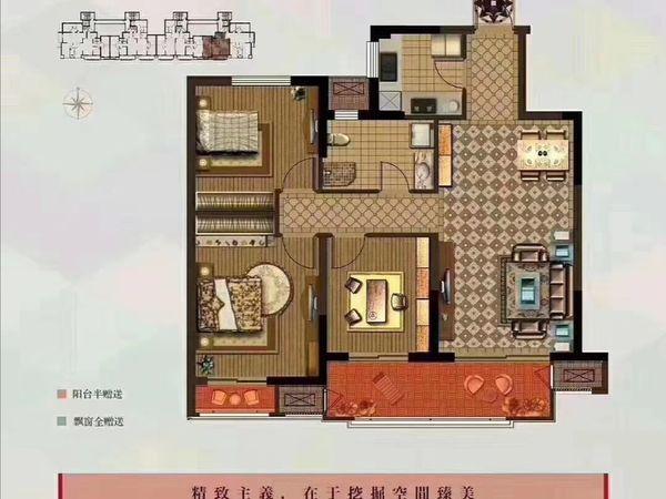 富华二期,纯毛坯,户型周正,两房朝南,超大阳台,采光好